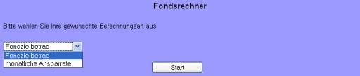 aktueller Screenshot der Auswahlmaske aus dem Fondsrechner